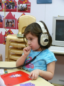 Child listening to book