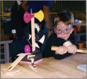 Child in lab goggles
