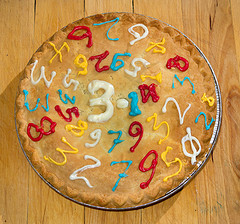 A Pi Day Pie, from Flickr user Robert Couse-Baker :http://www.flickr.com/photos/29233640@N07/8561590798/